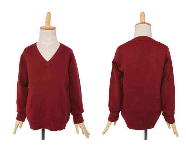 Easy Care Fashion Red V Neck Kids Children Cashmere Cardigan Sweater613